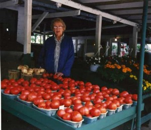 this is a picture of Bill's mom Helen with beautiful Jersey Fresh tomatoes.